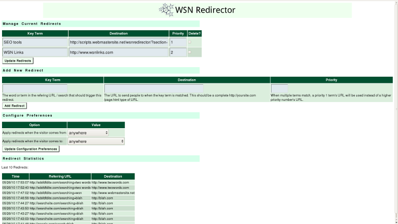 Click to view WSN Redirector 1.1.0 screenshot